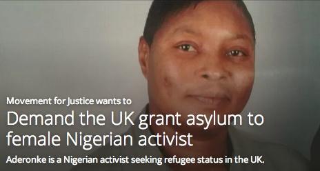 Demand the UK grant asylum to female Nigerian activist