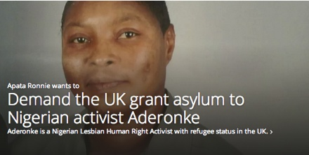 Sign the petition: UK grant asylum to activst Aderonke