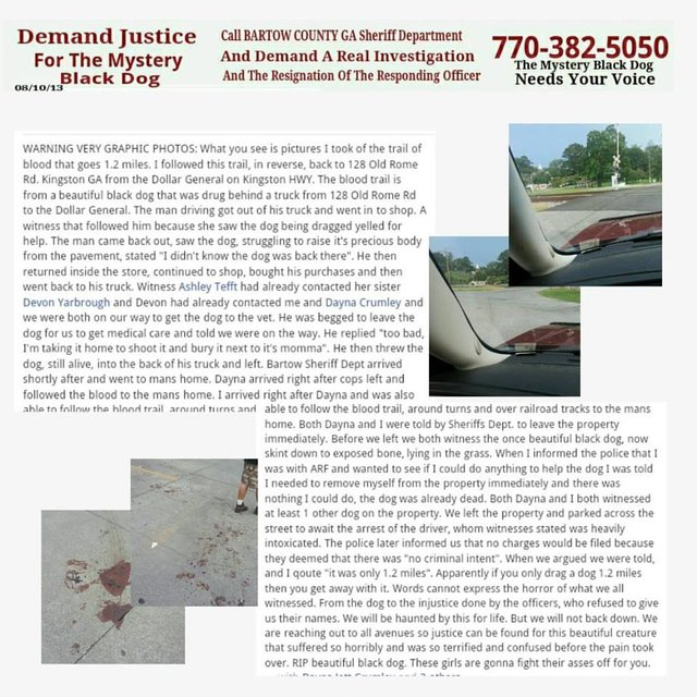 Demand Animal cruelty charges be laid on dragged dogs owner! Justice for the Bartow County Dog