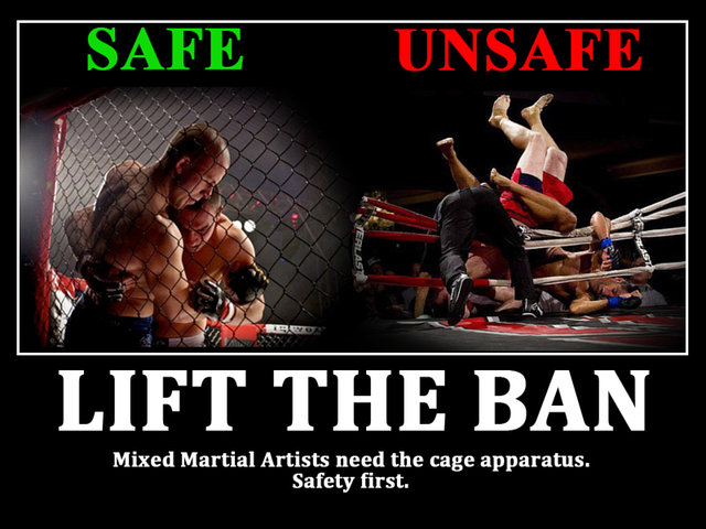 lift the ban on the cage apparatus for MMA in Victoria