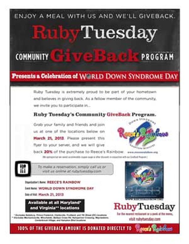 World Down Syndrome Day fundraiser at Ruby Tuesday!