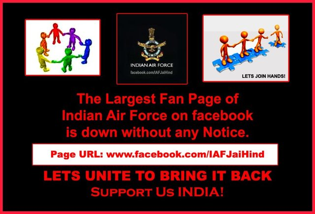 restore Indian Air Force page back on Facebook