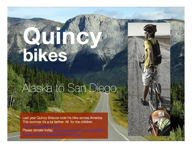 support Quincy Brisoce on his bike ride across America
