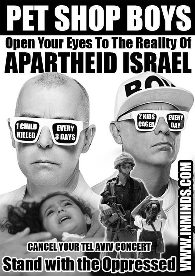 Pet Shop Boys: BOYCOTT Apartheid Israel on June 23, 2013.