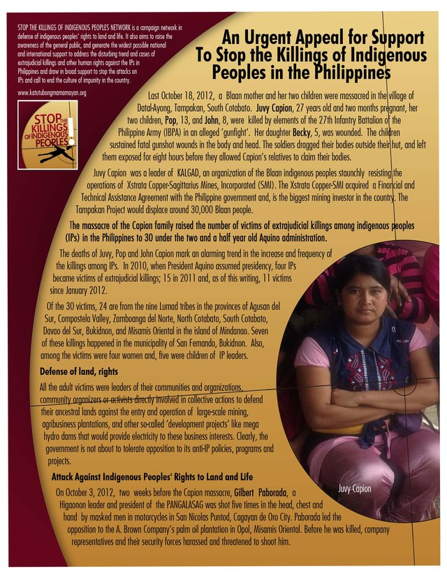 Stop the Killings of Indigenous Peoples!