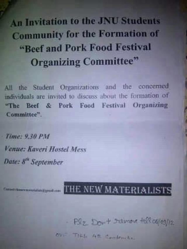 "Stop the ""Beef & Pork"" eating festival @ JNU on 27th September. Raise your voice !!!"