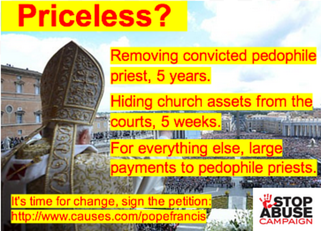 "Tell Pope Francis ""Stop recycling pedophile priests."""